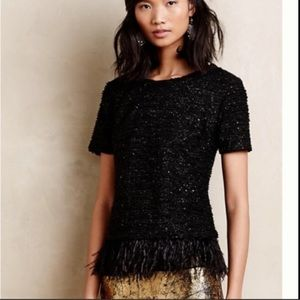 Anthro Deletta   Sequin Boucle Feather Fringe Top